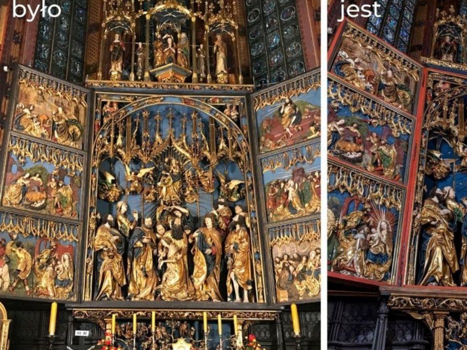 ołtarz Wita Stwosza przed i po konserwacji